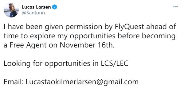 FLY打野Santorin宣布成为自由人:正在寻找欧美赛区的队伍