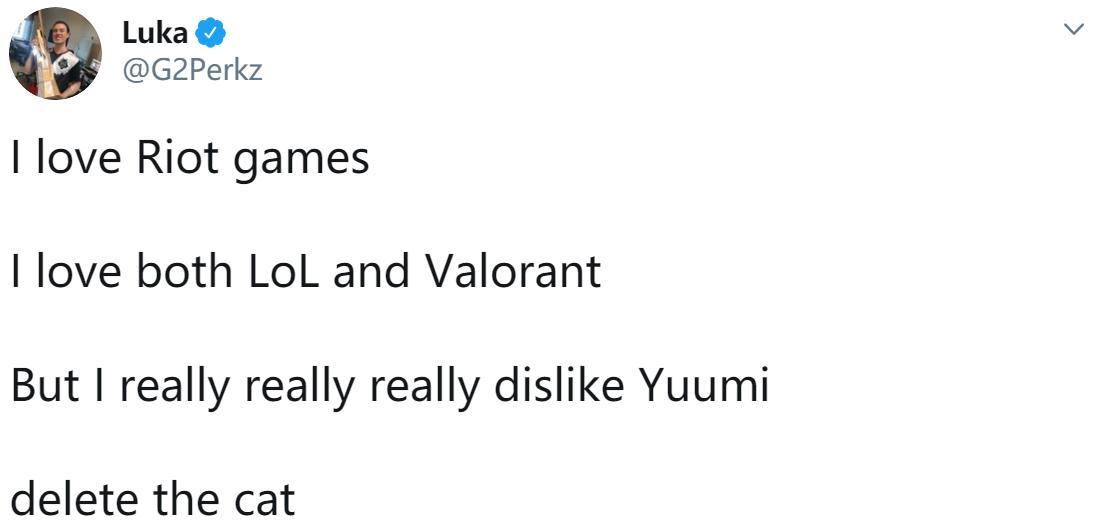 Perkz:我真的真的很讨厌悠米 删除那只猫吧
