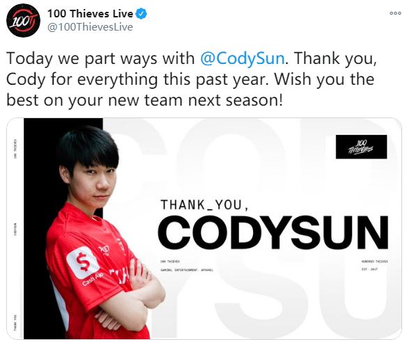 100T官宣:AD选手Cody Sun正式离队