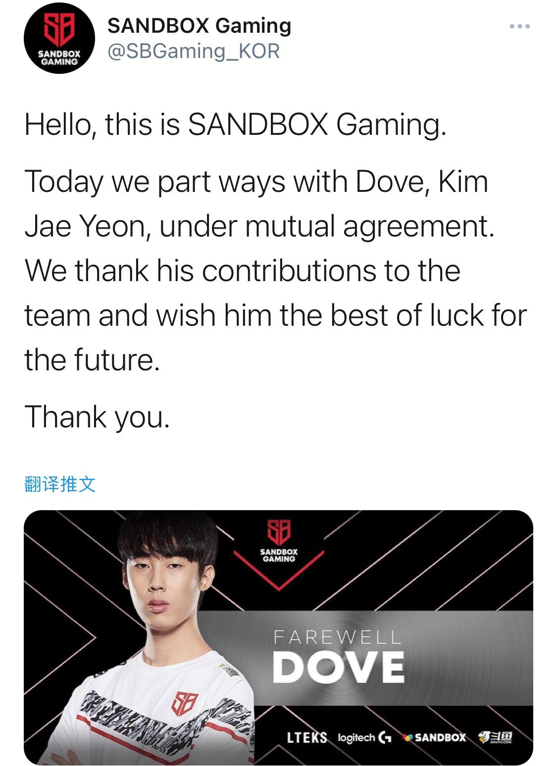 SB官宣:中单选手Dove离队