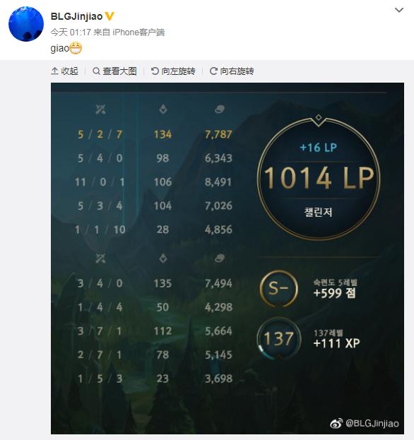 宝刀未老?Jinjiao韩服1000分打进前50名