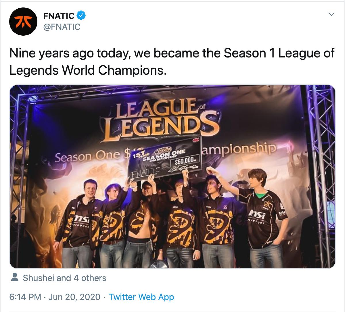 九年前的今天:Fnatic于S1全球总决赛夺得世界冠军