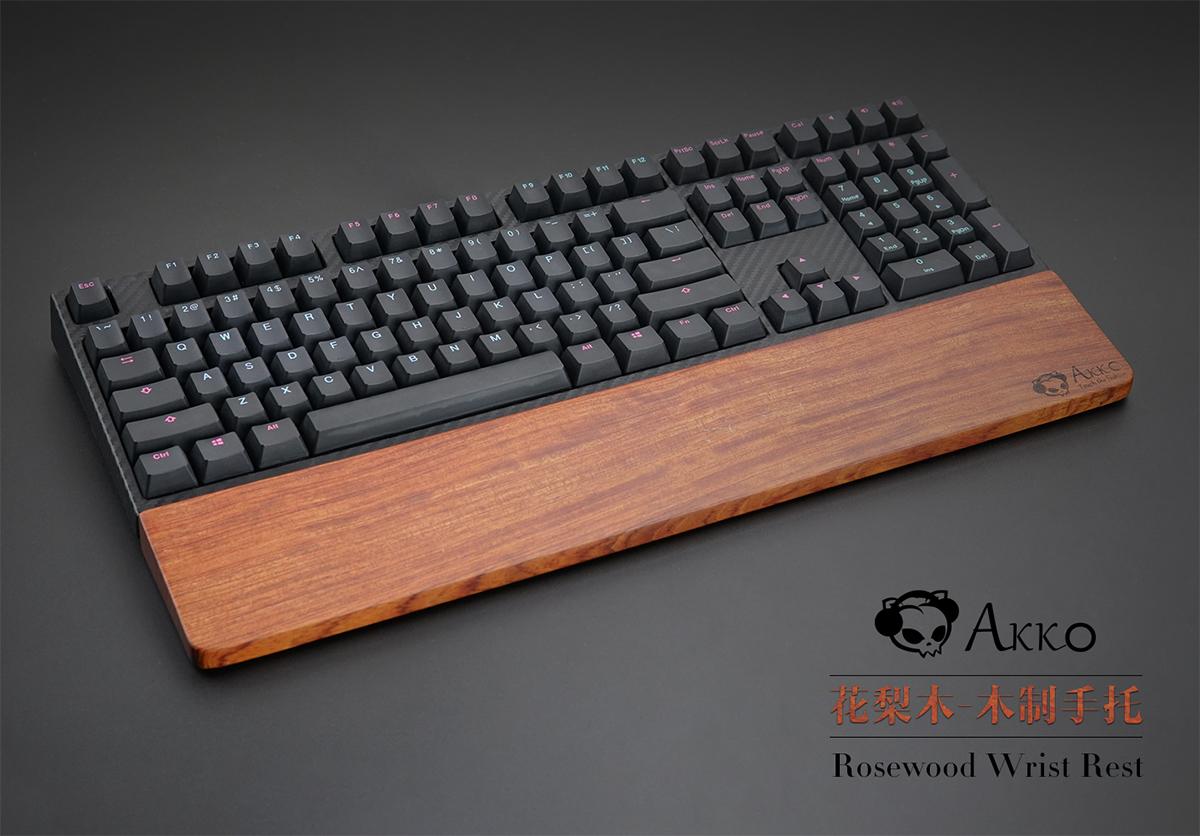 配备防滑脚垫!Akko花梨木木制键盘手托 104 108键专用