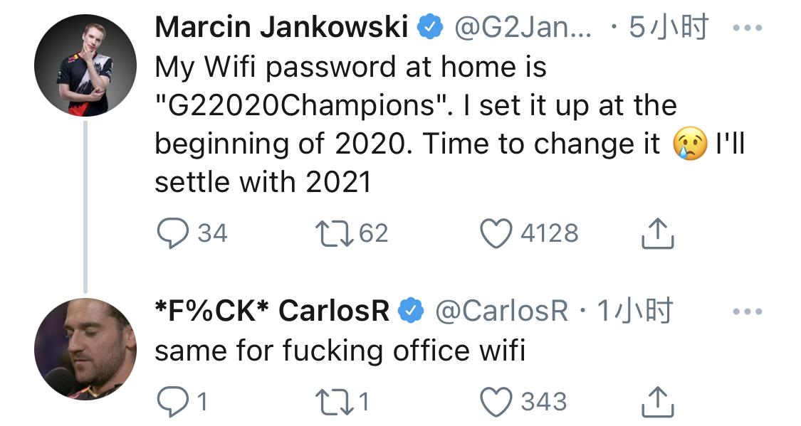 Jankos更推:我家的wifi密码是G22020Champions