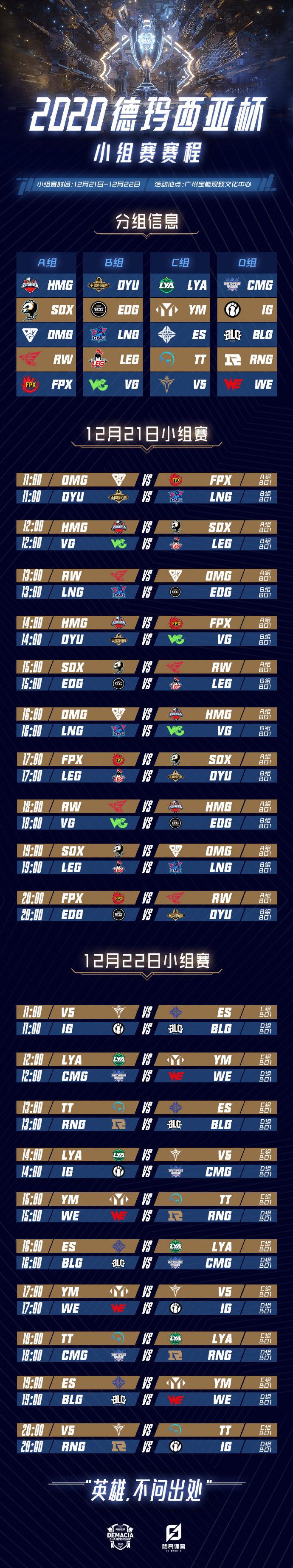 德玛西亚杯小组赛赛程出炉:揭幕战OMG vs FPX