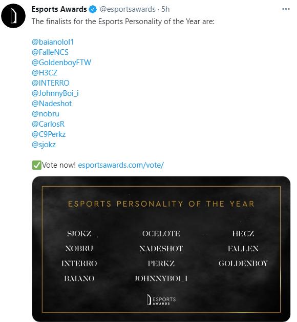 年度电子竞技奖项评选:Perkz、G2老板入选年度人物